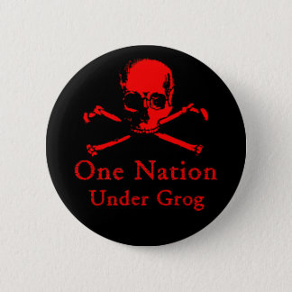 One Nation Under Grog button (red skull)