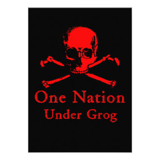 One Nation Under Grog invitations red skull