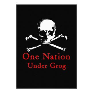 One Nation Under Grog invitations white skull