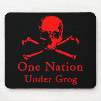 One Nation Under Grog mousepad (red skull)