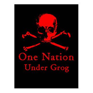 One Nation Under Grog postcards red skull