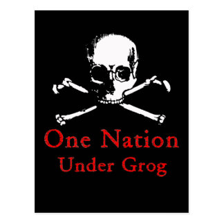 One Nation Under Grog postcards (white skull)