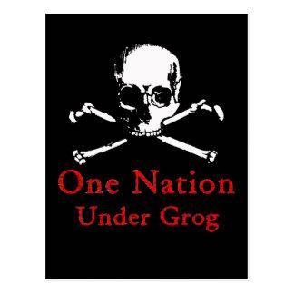 One Nation Under Grog postcards white skull