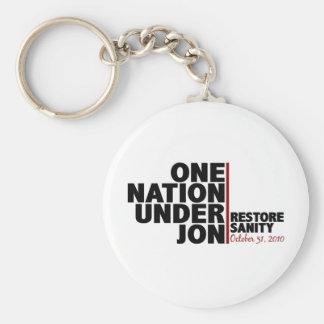One nation under Jon (Restore Sanity) Key Ring