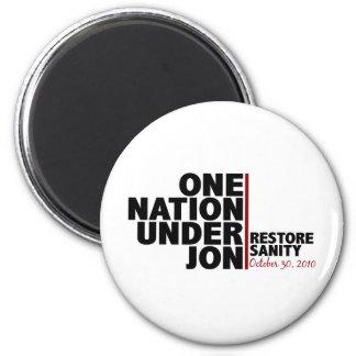 one nation under jon (stewart) 6 cm round magnet