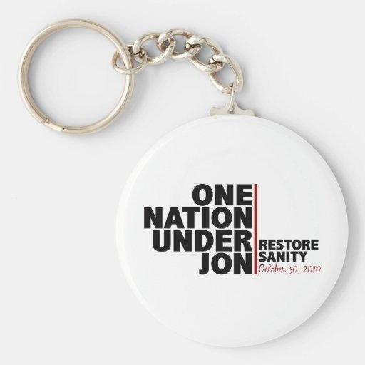 one nation under jon (stewart) keychains