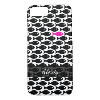 One Neon Pink Fish in a Sea of Black on White iPhone 8/7 Case