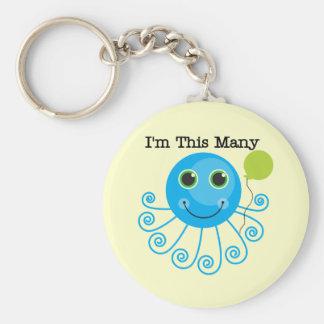One Octopus I'm This Many Birthday Basic Round Button Key Ring