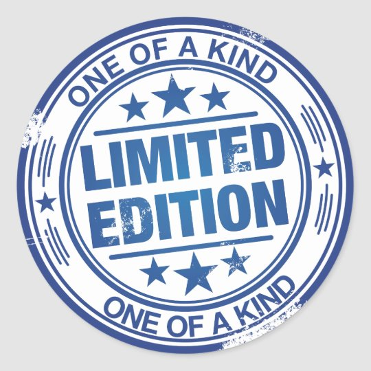 One of a kind -blue rubber stamp effect-
