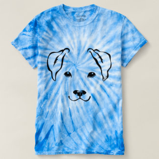 One-of-a-Kind Hand Drawn 5 Lines Dog Tie Dye Shirt
