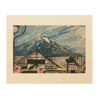 One of a Kind Mount Fuji Monotype Print on Wood
