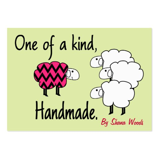 One Of A Kind Pink and Black Sheep Hang Tag Business Cards