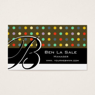One Of A Kind Retro Unique Pattern   Monogram Business Card
