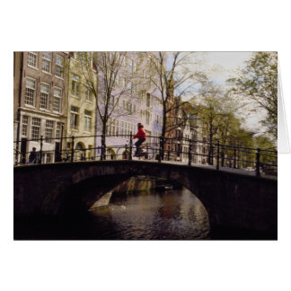 One of Amsterdam's nearly 1,300 bridges crossing i Greeting Card