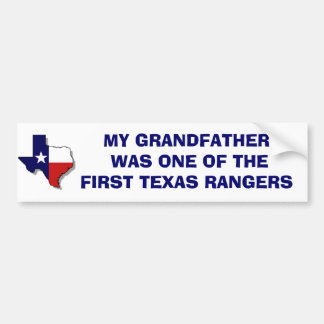 ONE OF THE FIRST TEXAS RANGERS BUMPER STICKER