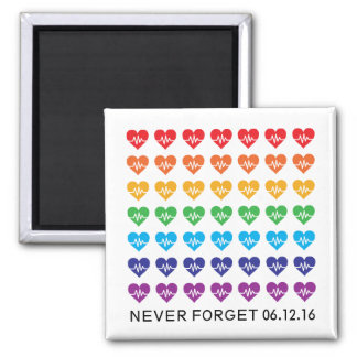 One Orlando One Pulse Rainbow 49 Hearts Square Magnet