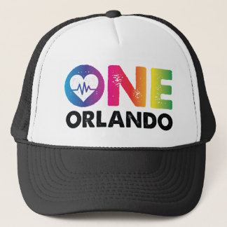 One Orlando One Pulse Rainbow Heart Trucker Hat