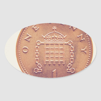 One Penny british coin Oval Sticker