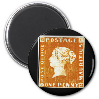 One Penny British Empire Mauritius Postage Stamp 6 Cm Round Magnet