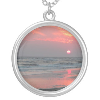 One Perfect Sunset - Oak Island, NC Silver Plated Necklace