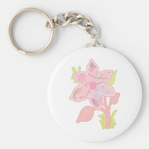 ONE pink flower Keychain