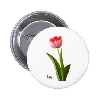 One Pink Spring Tulip Nature Floral Photo 6 Cm Round Badge