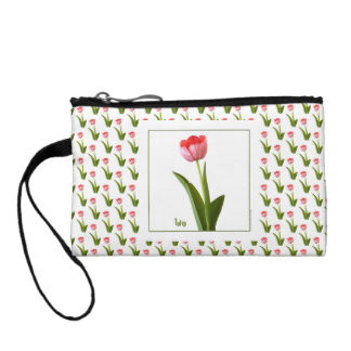 One Pink Spring Tulip Nature Floral Photo Coin Wallets
