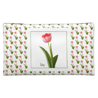 One Pink Spring Tulip Nature Floral Photo Cosmetic Bags
