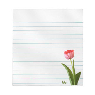 One Pink Spring Tulip Nature Floral Photo Note Pad