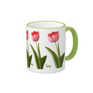 One Pink Spring Tulip Nature Floral Photo Ringer Mug