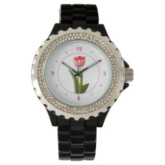 One Pink Spring Tulip Nature Floral Photo Wrist Watches