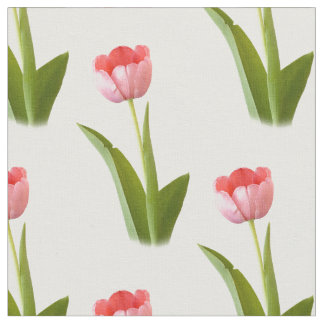 One Pink Tulip - Geometric Floral Pattern Fabric