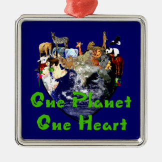 One Planet One Heart Silver-Colored Square Decoration