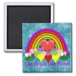 One Planet One People Square Magnet