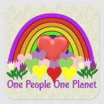 One Planet One People Square Sticker