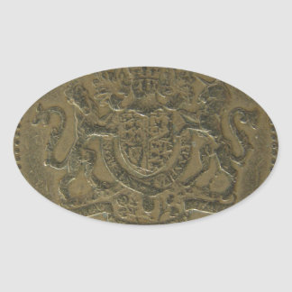 One Pound coin Oval Sticker