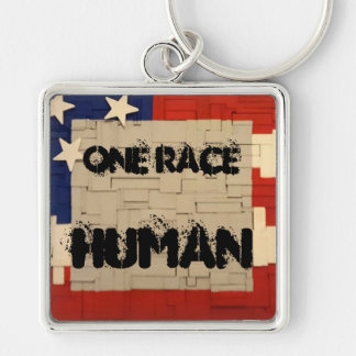 One Race HUMAN Silver-Colored Square Key Ring