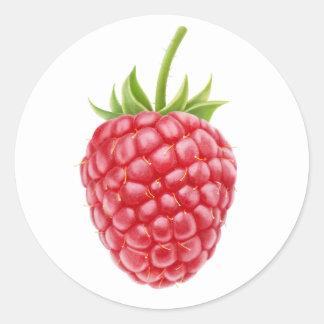 One raspberry round sticker