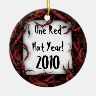 One Red Hot Year! Customizable Round Ceramic Decoration