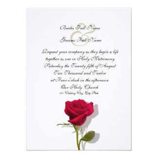 One Red Rose 14 Cm X 19 Cm Invitation Card