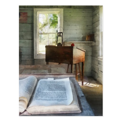 One Room Schoolhouse with Book Postcards