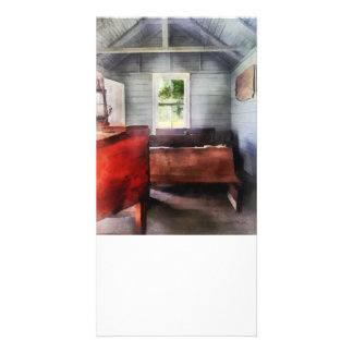 One Room Schoolhouse with Hurricane Lamp Photo Greeting Card