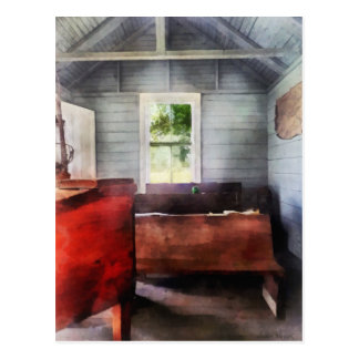 One Room Schoolhouse with Hurricane Lamp Postcard