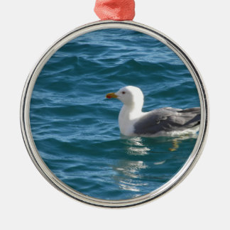 One seagull floating on the sea surface Silver-Colored round decoration