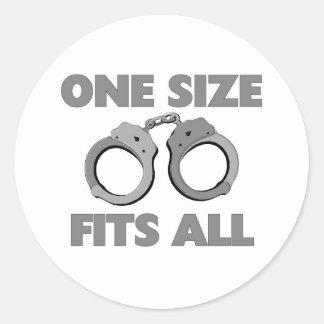 One size fits all round sticker
