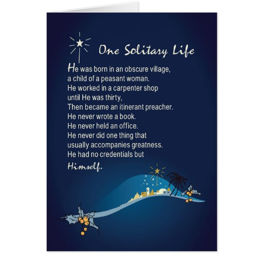 One Solitary Life Religious Christmas Card Dark Bl