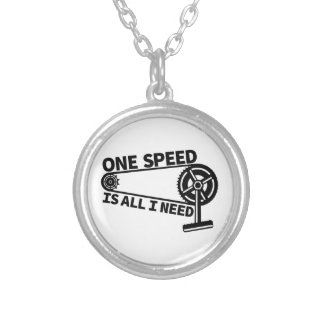 One Speed Is All I Need, single speed fixie Round Pendant Necklace