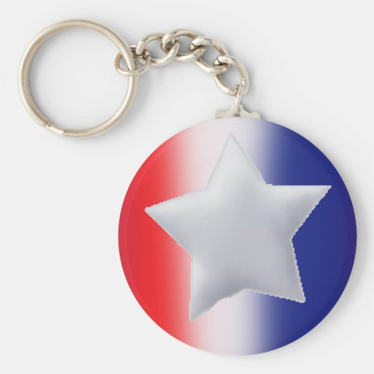 One star on red white blue background basic round button key ring