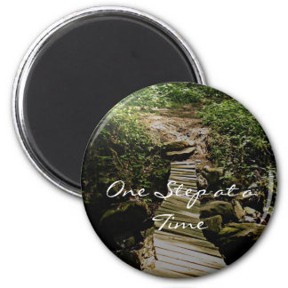 One Step at a Time Forest Wooden Bridge Photo 6 Cm Round Magnet