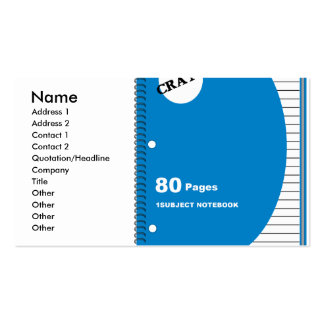 one subject notebook graphic business card